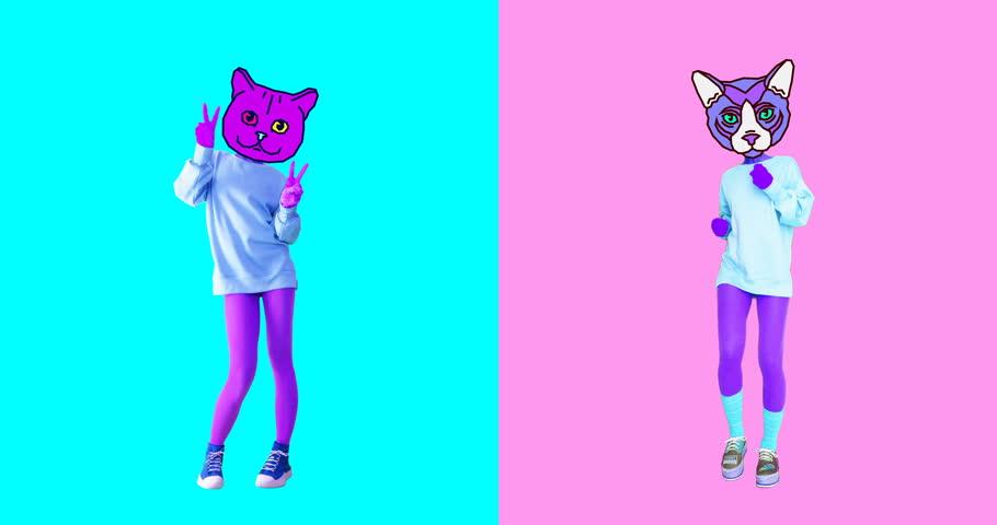 Animation minimal gif art. Set of funny cats | Shutterstock HD Video #1026037280