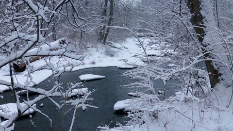 A Horizontal pan of a partially frozen river running through a dense part of the forest in winter time. Snow covered branches indicate heavy snowfall from the night before in this secluded area