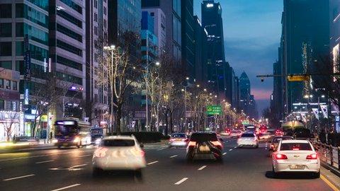 SEOUL, SOUTH KOREA - FEBRUARY 24: TimeLapse  Traffic at Teheran-ro Gangnam Seoul city on february 24,2019 in South Korea