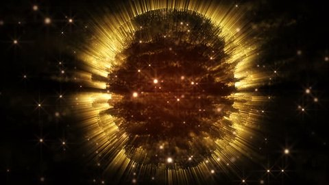 4K Abstract motion background shining particles stars magic dust and light waves flow in space forming circle or sphere pattern with light rays and projections seamless loop