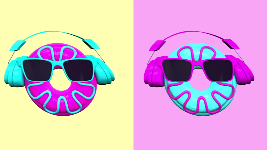 Looped 3D animation of fancy donuts dance.