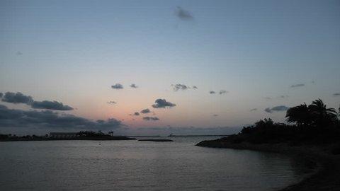 Sunset view of Okinawa Naha Port, Japan