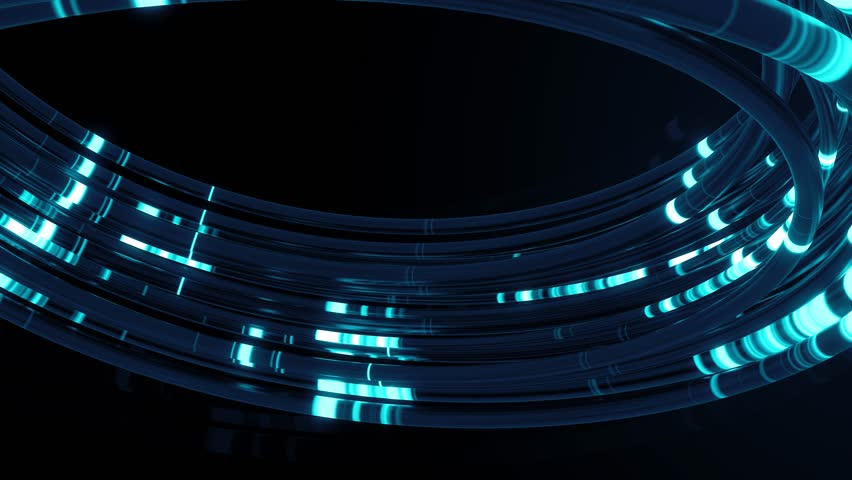 Blue 3d render of reflective cables with glow segments. Data transferring. Information concept. Technology background.Loopable animation. | Shutterstock HD Video #1026159860
