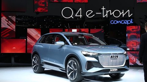 Geneva, Switzerland, March 05, 2019: New all-electric Audi Q4 e-tron concept car – highly automated prototype for the future at Geneva International Motor Show, produced by Audi AG