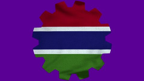 Gambia Gear Flag Loop - Realistic 3D Illustration 4K - 60 fps flag of the Gambia - waving in the wind. Seamless loop with highly detailed fabric texture. Loop ready in 4k resolution