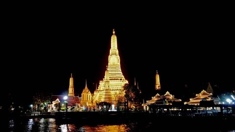 Bangkok, Thailand-March 22, 2019 : 4k Wat Arun is one of the most famous travel destinations, Bangkok, Thailand.