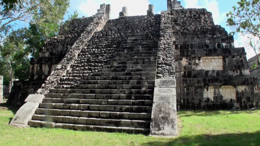 Steps of warrior temple ruins Chichen Itza Mexico Yucatan. Temple warriors of Mexican historic ancient monument of Mayan architecture.