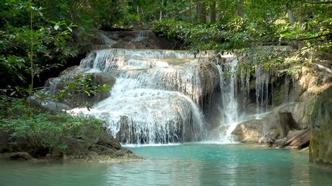 Erawan Waterfall tier 1, in National Park at Kanchanaburi, Thailand