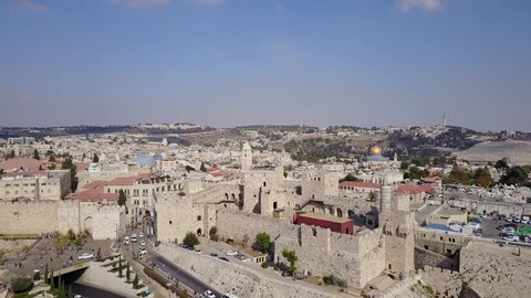 Ascending aerial view of the Jaffa Gate, Tower of David, the Christian Quarter and the Dome of the Rock on Temple Mount. Jerusalem.