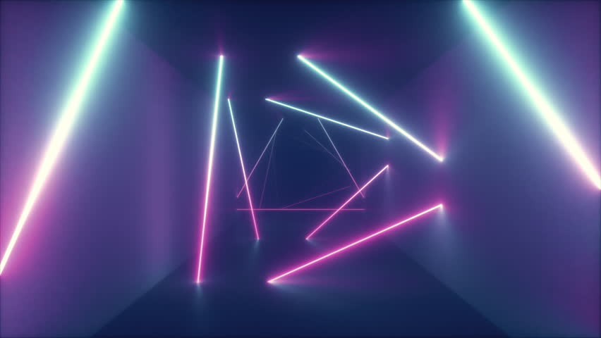 Abstract flying in futuristic corridor with triangles, seamless loop 4k background, fluorescent ultraviolet light, colorful laser neon lines, geometric endless tunnel, blue pink spectrum, 3d render