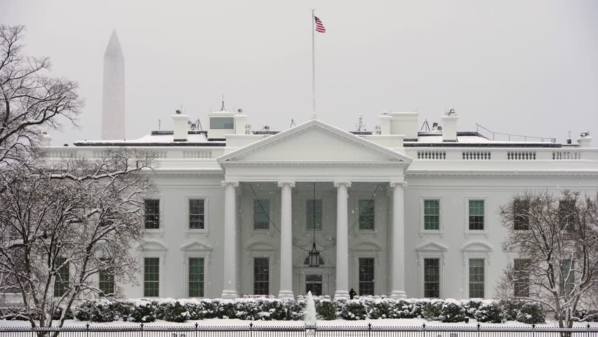 Washington District of Columbia, United States of America - 01/14/2019 Winter view with snow of the White House