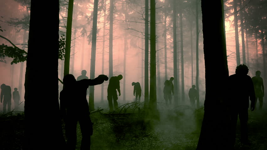 Flashy animation of zombies walking through the misty forest. | Shutterstock HD Video #1026484400