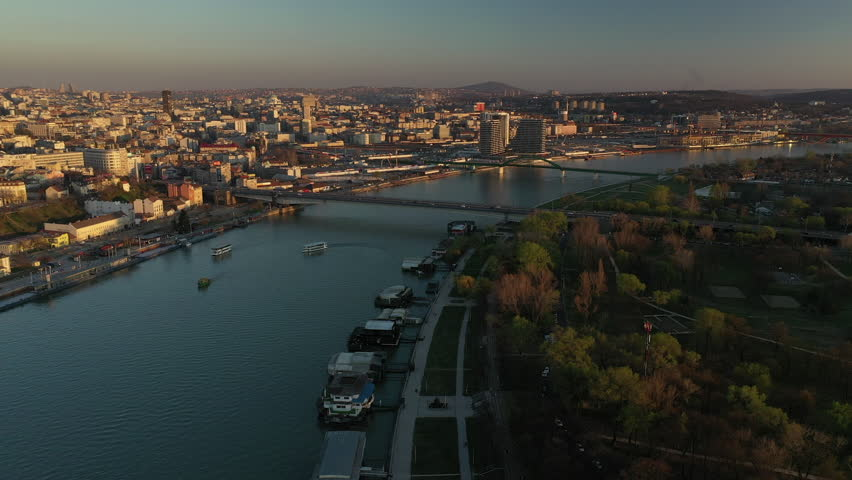 Belgrade Serbia Air Footage Panorama | Shutterstock HD Video #1026491960