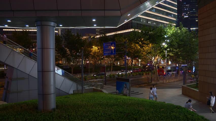 SHANGHAI, CHINA - SEPTEMBER 20 2017: night illuminated shanghai downtown traffic square panorama 4k circa september 20 2017 shanghai, china. | Shutterstock HD Video #1026604010