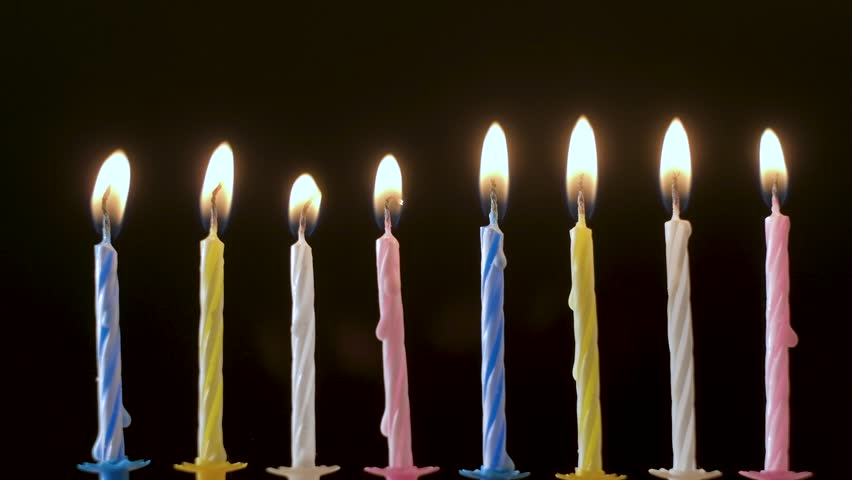Collection set of birthday candles on black background, anniversary celebration concept, blowing off light, making a wish, 4K UHD