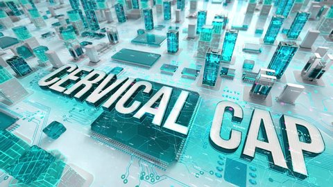 Cervical Cap with medical digital technology concept