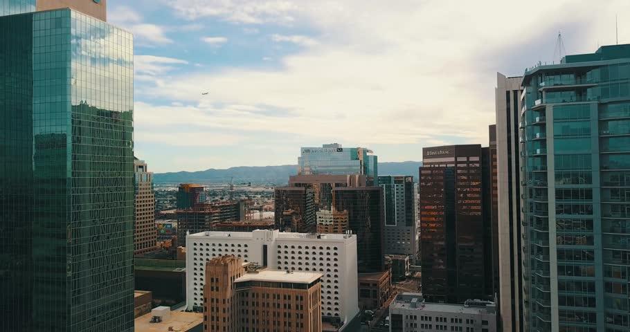 Aerial shoting through downtown phoenix west | Shutterstock HD Video #1026795800