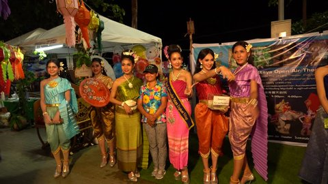 A group of wonderful Ladyboys on the waterfront in Pattaya, Suanthai. Pattaya, Thailand, 02.04.2019