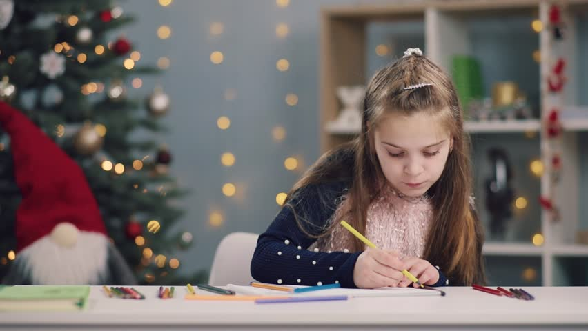Hd00 36portrait Of Cute Little Girl Drawing With A Yellow Pencil Then