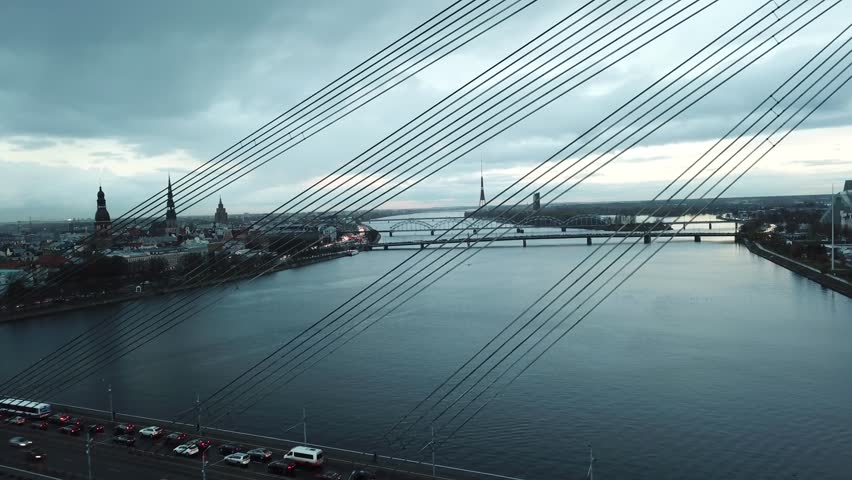Aerial view of Daugava River, Riga on a moody dat #1026855920