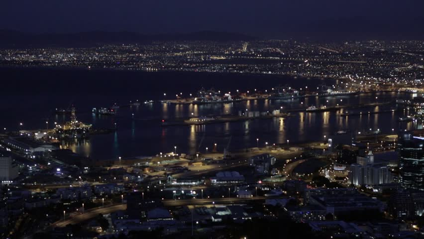 Commercial sea port, city at night | Shutterstock HD Video #1026928580