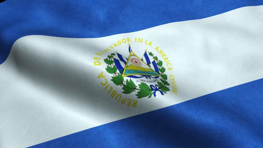 El Salvador Flag Seamless Looping Waving Animation