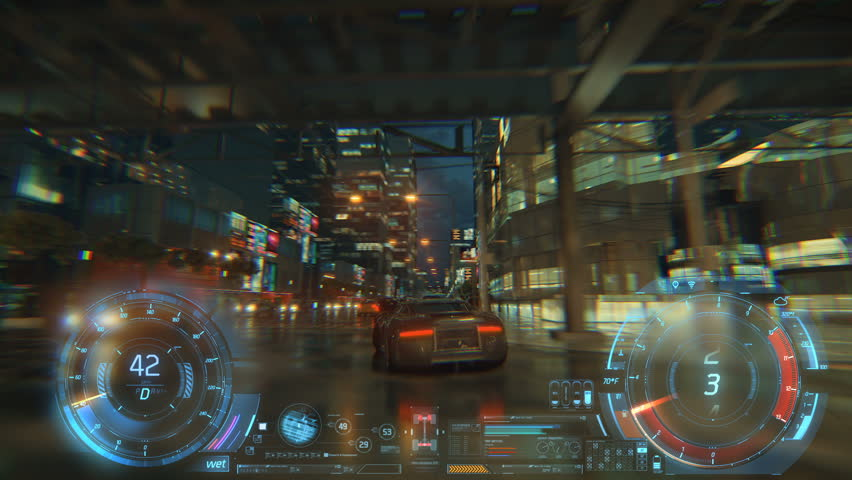 3d fake Video Game. Racing simulation. night city. lights after rain. part 2 of 2. Hud | Shutterstock HD Video #1026988460