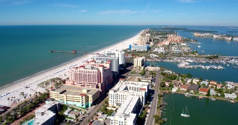Aerial Shot of Tampa City Skyline, Beaches, and Bay, Florida