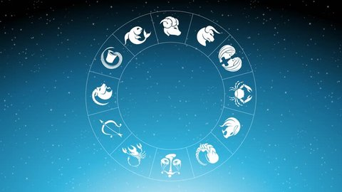 Animation of Zodiac Star Signs Rotating Around Pisces Zodiac Sign Over Blue Starry Sky