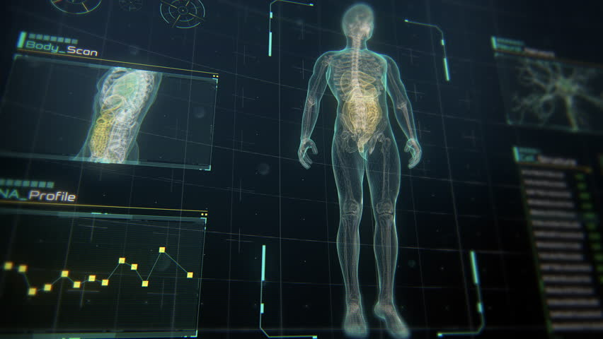 Close Up perspective view of Human Male Anatomy Scan on Futuristic Touch Screen Interface showing bones, organs, and neural network activity. Concept: In the Near Future of Medicine and Healthcare. | Shutterstock HD Video #1027052360