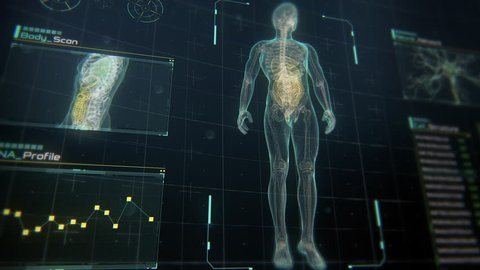 Close Up perspective view of Human Male Anatomy Scan on Futuristic Touch Screen Interface showing bones, organs, and neural network activity. Concept: In the Near Future of Medicine and Healthcare.