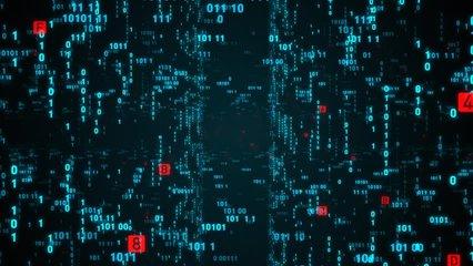 Digital fly binary code background loop. Data binary code network. 4K loop animation. Blue version. See more video in my portfolio