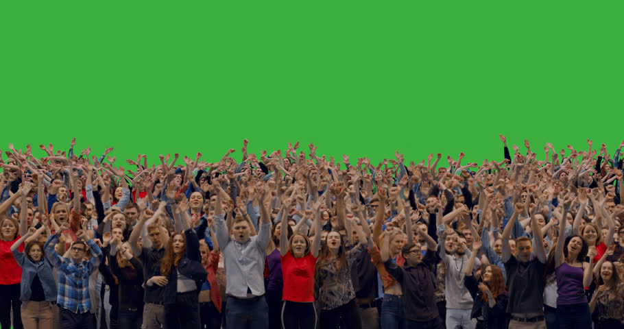GREEN SCREEN CHROMA KEY Model released, front view of huge crowd jumping and cheering at a concert or a show. 4K UHD ProRes 4444 #1027123430