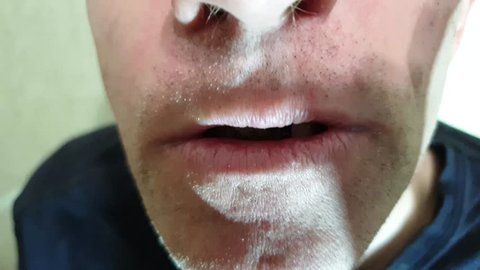 The Sore teeth in the mouth of a man.Sick teeth close up