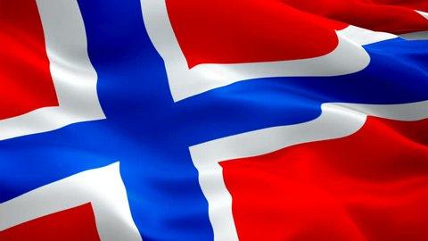 Norway flag video waving in wind. Realistic Norwegian Flag background. Oslo Norway Flag Looping Closeup 1080p Full HD 1920X1080 footage. Norway EU European country flags/ Norway Norwegian Flag
