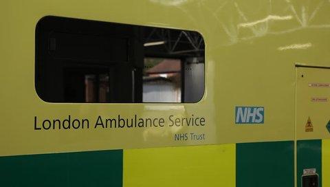 LONDON, UK - 2019: NHS Ambulance close up