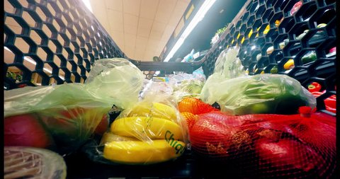 Grocery Food Shopping Time Lapse Shop Cart through Supermarket 4K