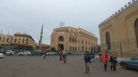 CAIRO, EGYPT - MARCH 30, 2018: View of Al-Azhar Mosque, the world's 2nd oldest degree granting university.