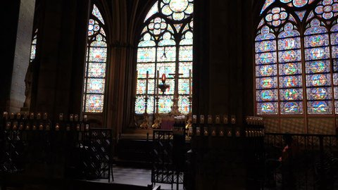 Paris, France - April 5, 2019: Interior of the Notre Dame de Paris. The cathedral of Notre Dame is one of the top tourist destinations in Paris.