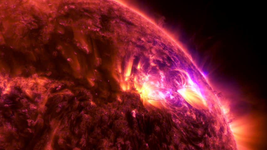 Sun. Solar flare. Solar activity. Elements of this image furnished by NASA  | Shutterstock HD Video #1027379030