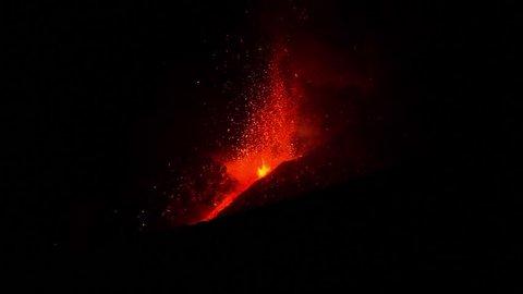 Etna Lava Eruption 2012