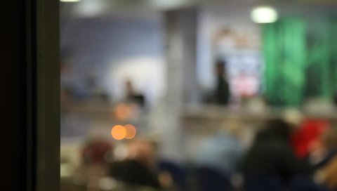 LONDON, UK - 2019: NHS A and E pull focus to busy reception