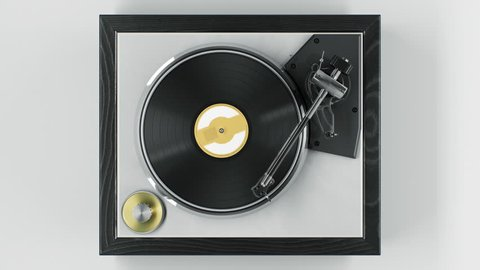 Beautiful Abstract Vintage Vinyl Record Player with Turning Disk and Moving Stylus and Needle Top View on White Background Seamless. Looped 3d Animation DJ Turntable Plate. 4k Ultra HD 3840x2160.