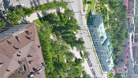 Vertical video. Omsk State Academic Drama Theater. Omsk Regional Museum of Fine Arts named after M. A. Vrubel. Russia, From Drone