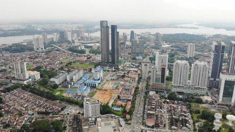 Johor Malaysia - April 13 2019 : Johor Bahru city ariel view