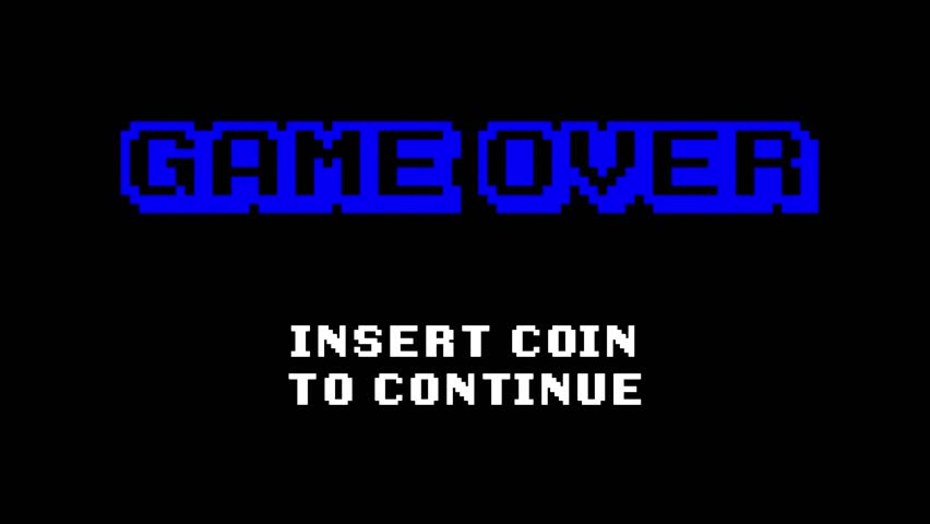 A retro vintage 8-bit game over screen (insert coin to continue), with blocky pixelated text; flashing and hue shift effects; black background. | Shutterstock HD Video #1027521560