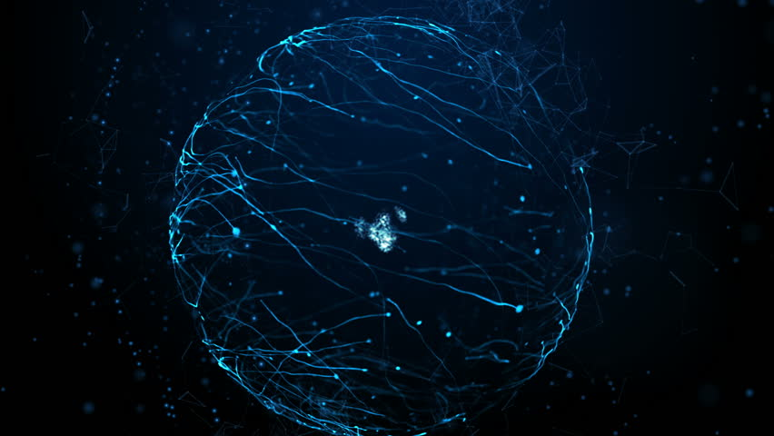 Blue particle energy sphere. Abstract technology, science, engineering and artificial intelligence motion background. #1027545200