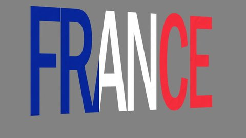 """The animated letters of the word """"France"""" in national colors are fluttering like a flag in the wind. This clip has an additional alpha matte that allows to get the background transparent."""