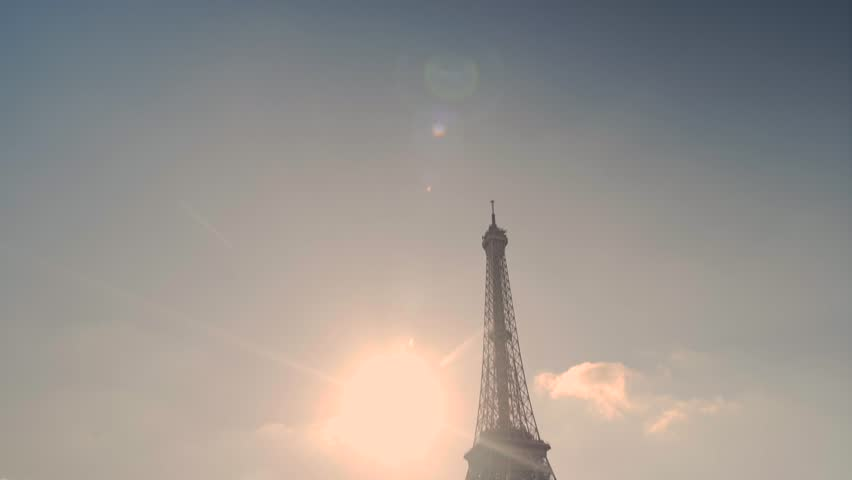Reveal shot of Tour Eiffel Tower close up view and Seine River Paris, France | Shutterstock HD Video #1027562960