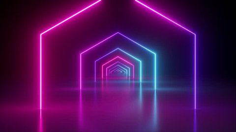 flight through spinning hexagonal corridor, glowing tunnel, pink blue neon light, abstract background, 80's retro style, k pop music stage, fashion podium, hexagons rotating, looped animation